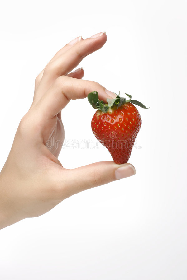 Free Strawberry In Hand Royalty Free Stock Photos - 4140288