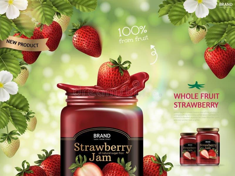 Strawberry jam ads vector illustration