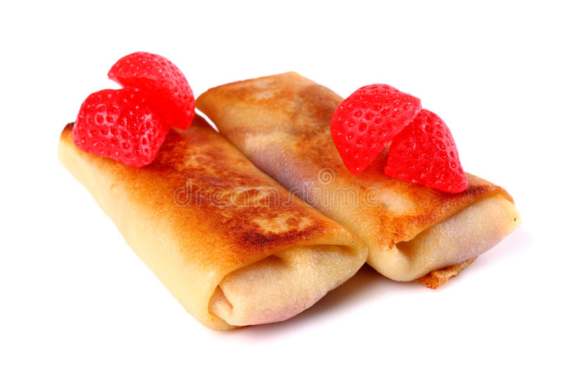 Strawberry jam filled pancakes royalty free stock photos