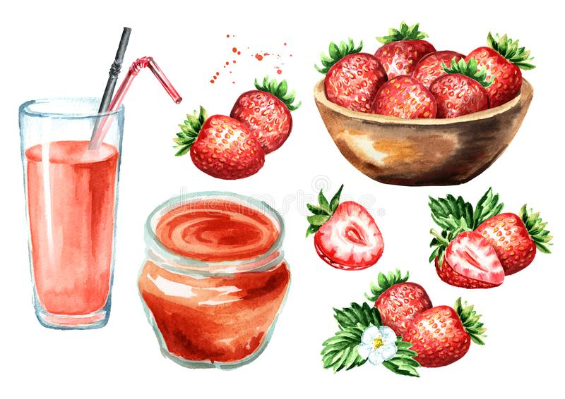 Strawberry jam, glass of juice, bowl with berries, flower and leaves set. Watercolor hand drawn illustration, isolated on white b royalty free stock image