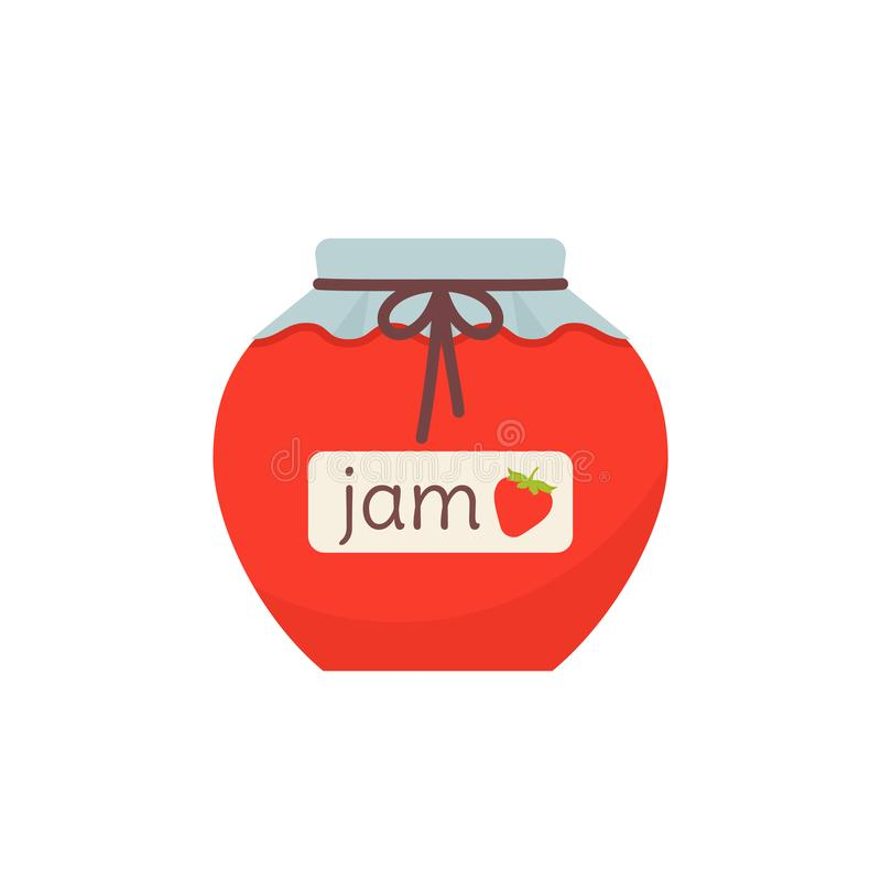 Strawberry jam in glass pot. Vector illustration. Flat design. Jam in jar icon. Vector. Strawberry marmalade in glass pot with label. Isolated on white vector illustration