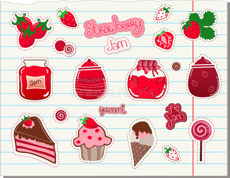 Strawberry and Jam Vector Set. On a paper cutout stock illustration