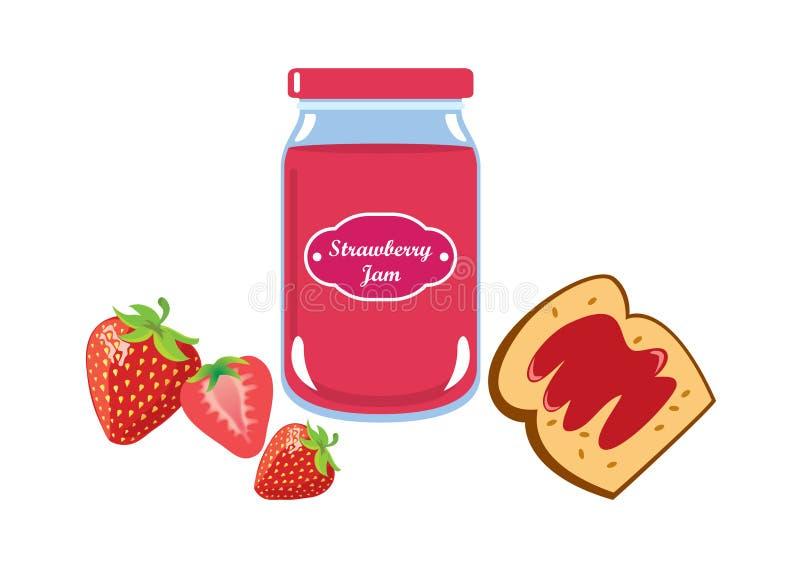 Strawberry jam vector vector illustration