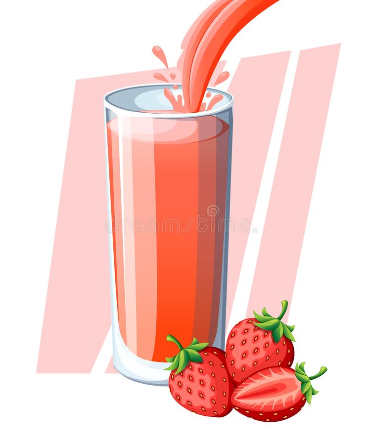 Strawberry juice. Fresh berry drink in glass. Strawberry smoothies. Juice flow and splash in full glass. Vector illustration isola royalty free illustration