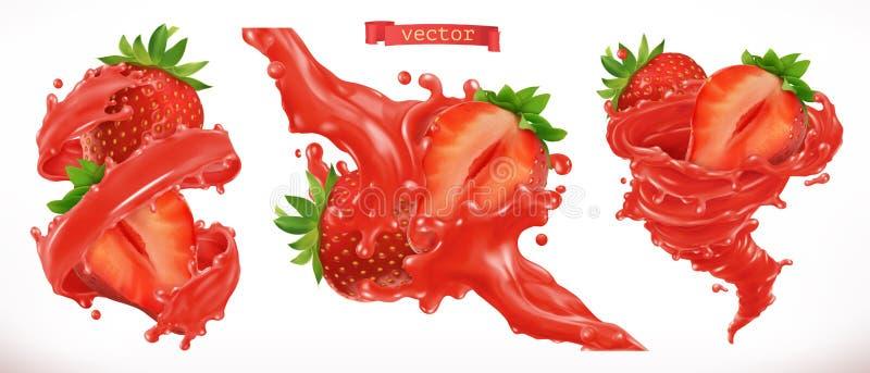 Strawberry juice. Fresh fruit 3d vector icon. Strawberry juice. Fresh fruit 3d realistic vector icon stock illustration