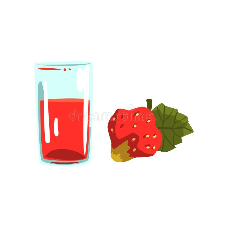 Strawberry juice, glass of natural vegetarian drink, healthy organic food vector Illustration on a white background stock illustration
