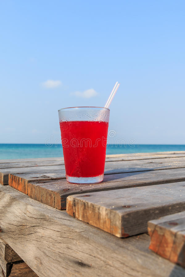Strawberry juice on Wooden pathway royalty free stock photo