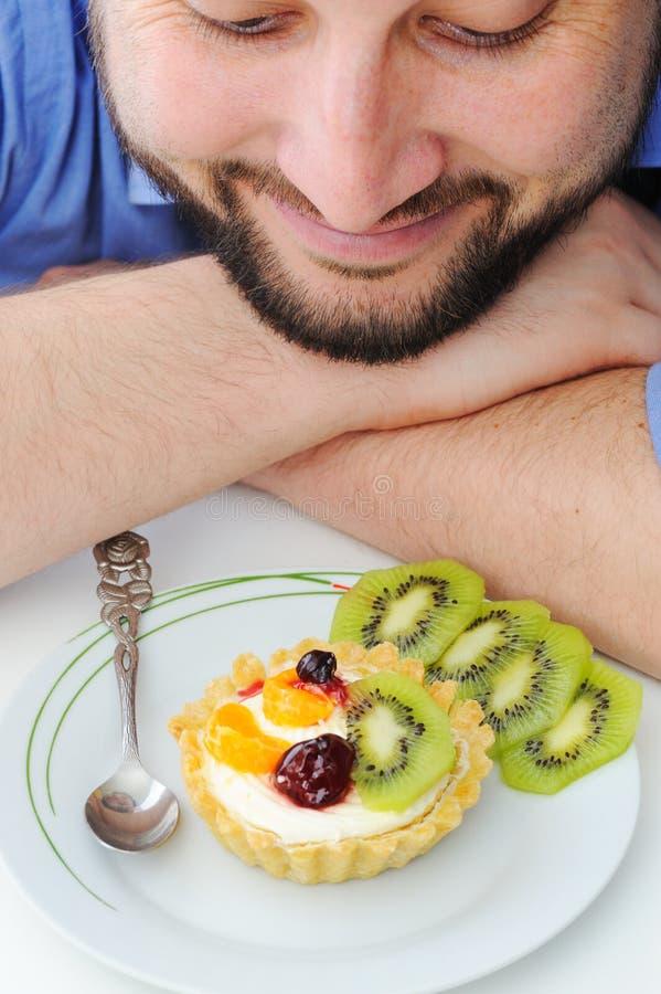 Strawberry and kiwi cake royalty free stock photo