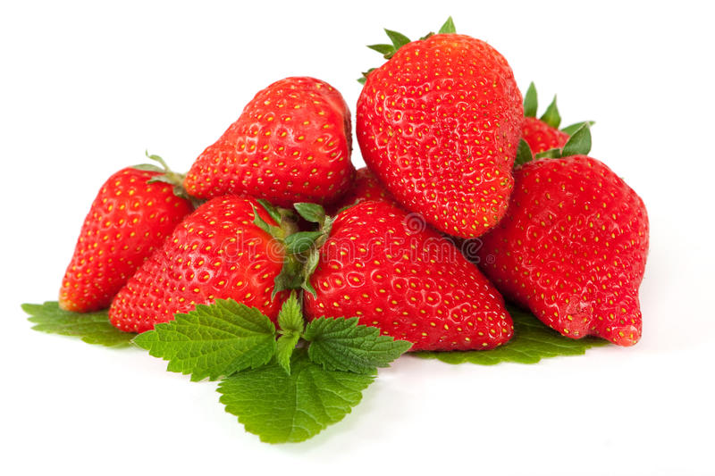 Download Strawberry on leaf stock photo. Image of dessert, diet - 14503204