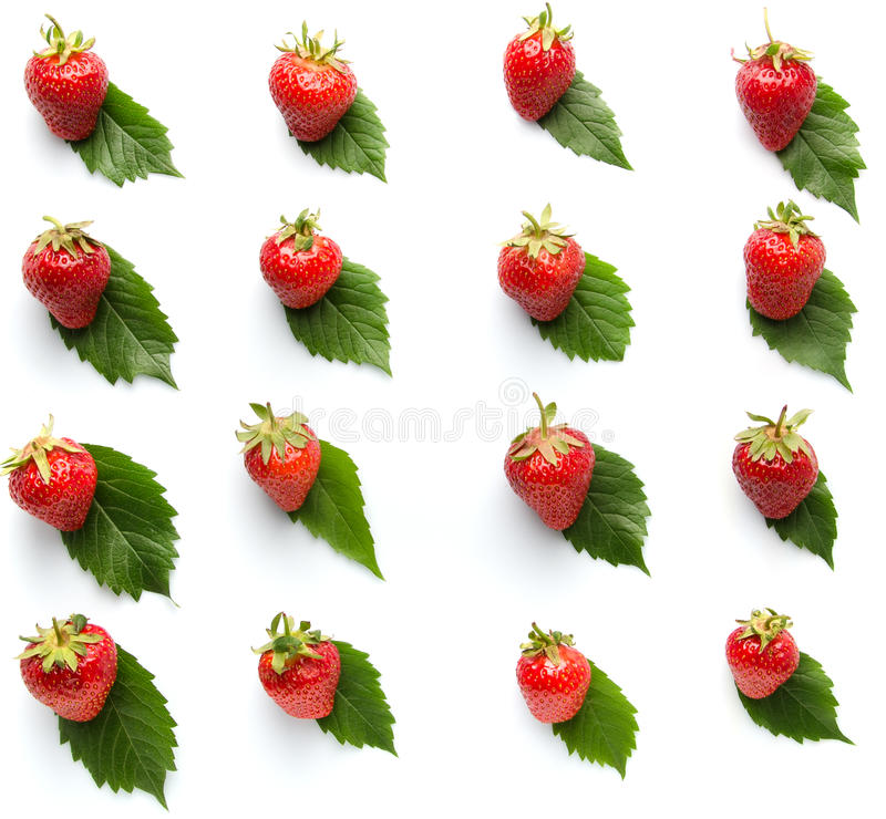 Strawberry on leaves pattern isolated white background. Strawberry on leaves pattern isolated on white background stock images