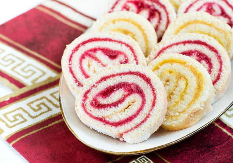 Strawberry and lemon jam swiss roll, closeup. Selective focus royalty free stock images