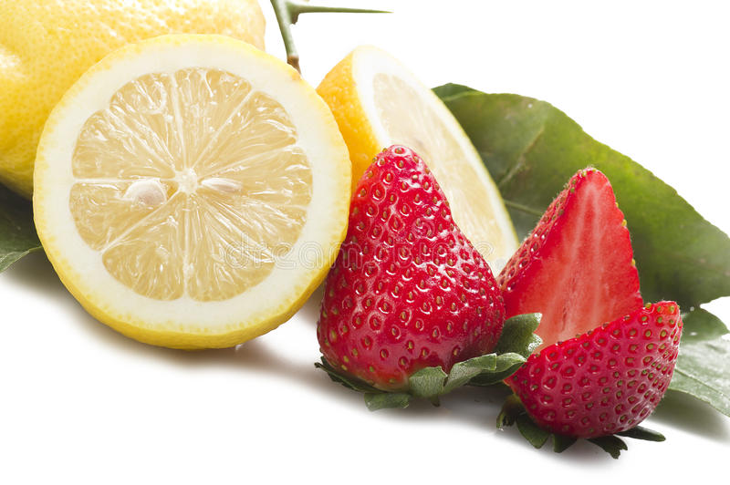 Strawberry with lemon stock photography