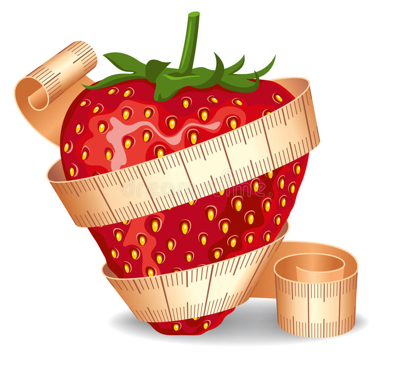 Download Strawberry In A Measuring Tape Stock Vector - Image: 14490839
