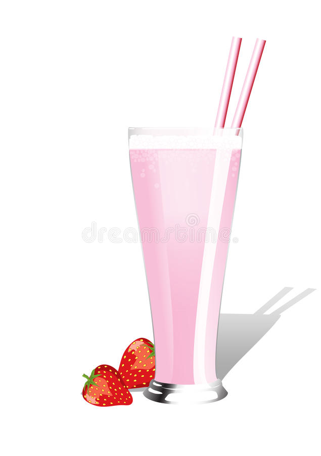 Strawberry milkshake royalty free illustration