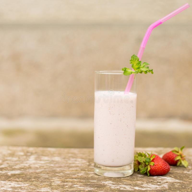 Strawberry milkshake smoothie royalty free stock images