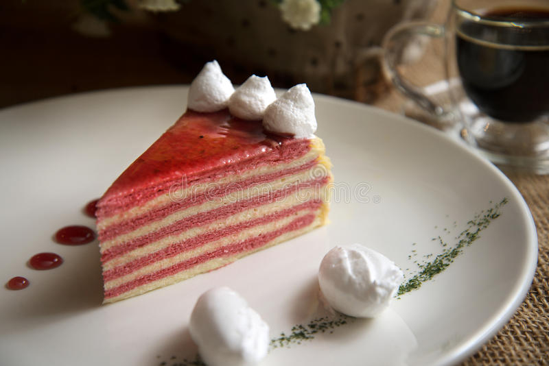Strawberry Mille Crepe Cake 2. Delicious strawberry mille crepe cake with coffee stock photos