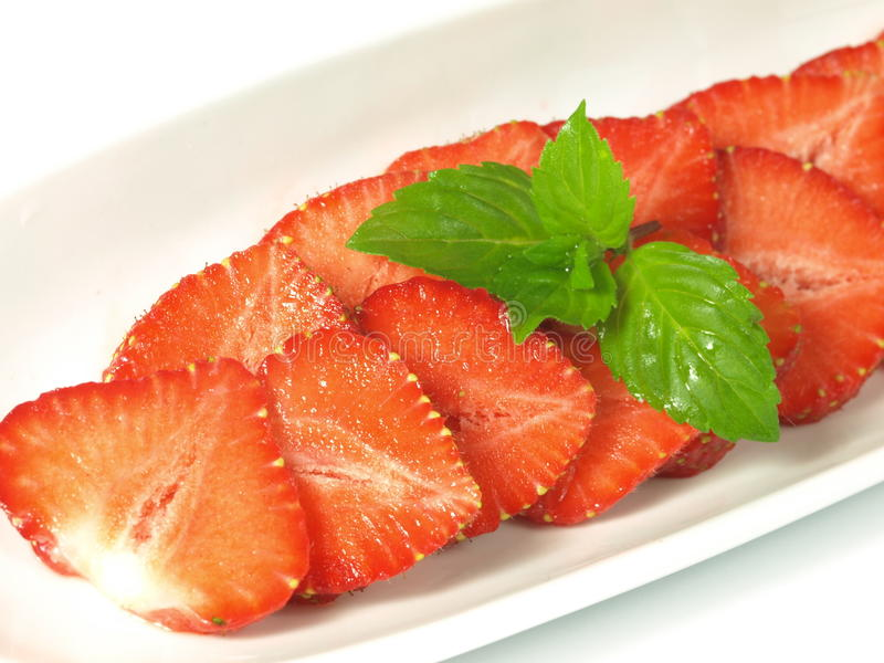 Strawberry With Mint Royalty Free Stock Photo
