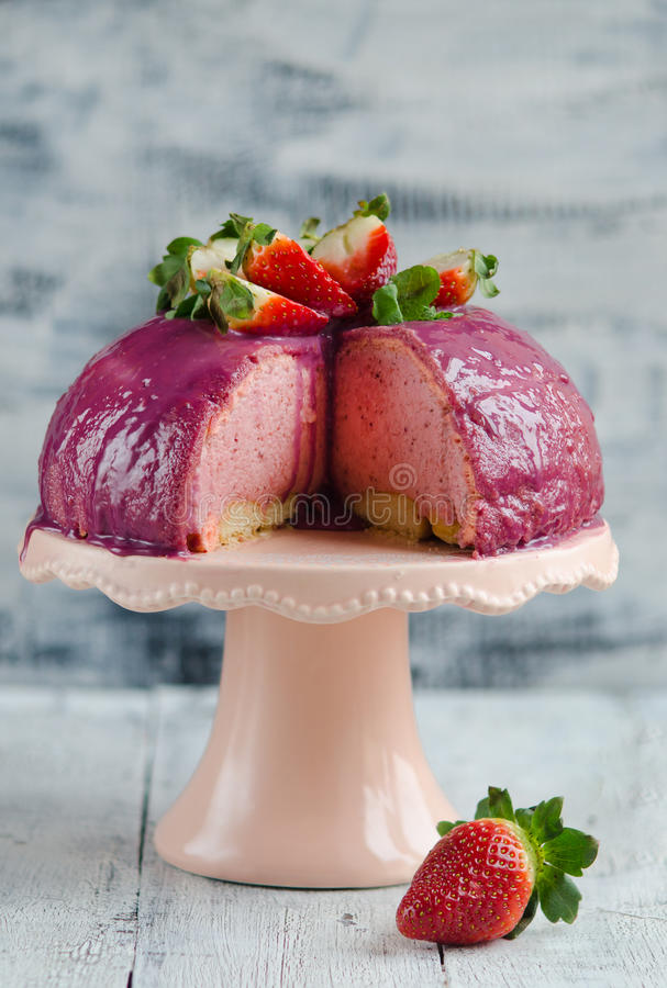 Strawberry mousse cake stock photo