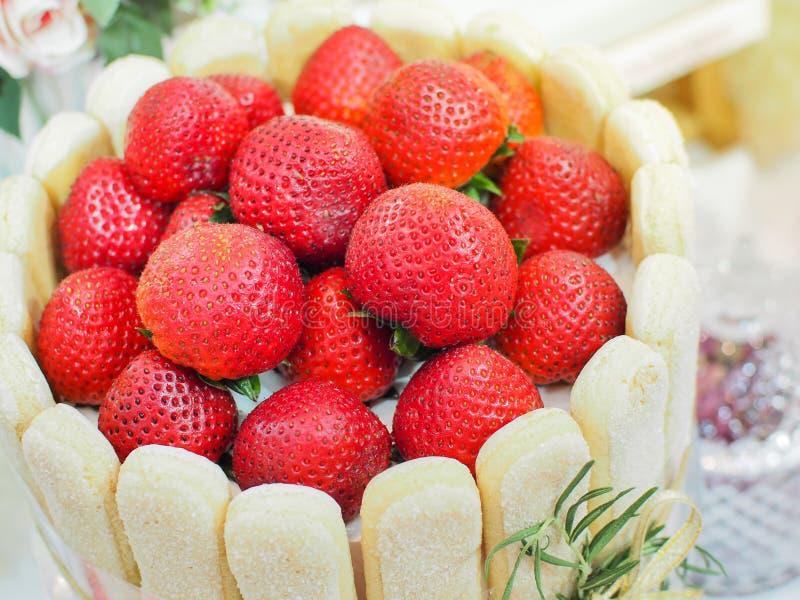 Strawberry Mousse Charlotte cake, Strawberry Vanilla cake decorate royalty free stock photography