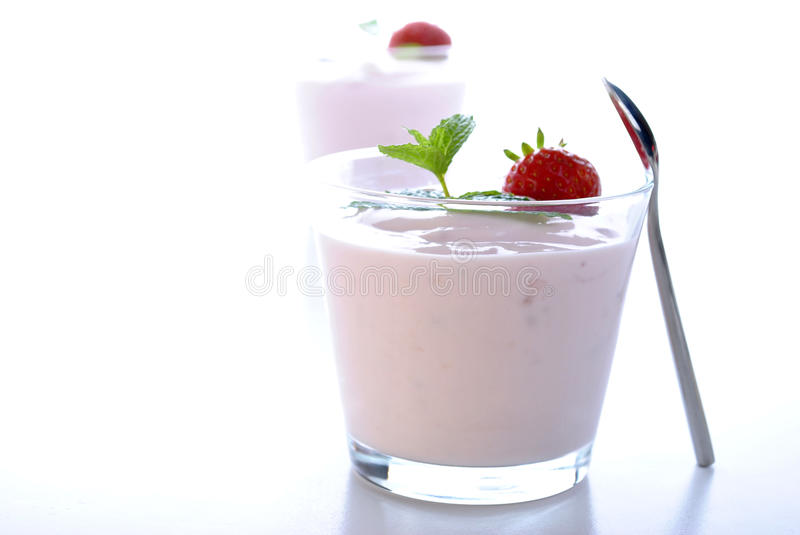 Download Strawberry In Natural Yoghurt And Mint Stock Image - Image: 13082275