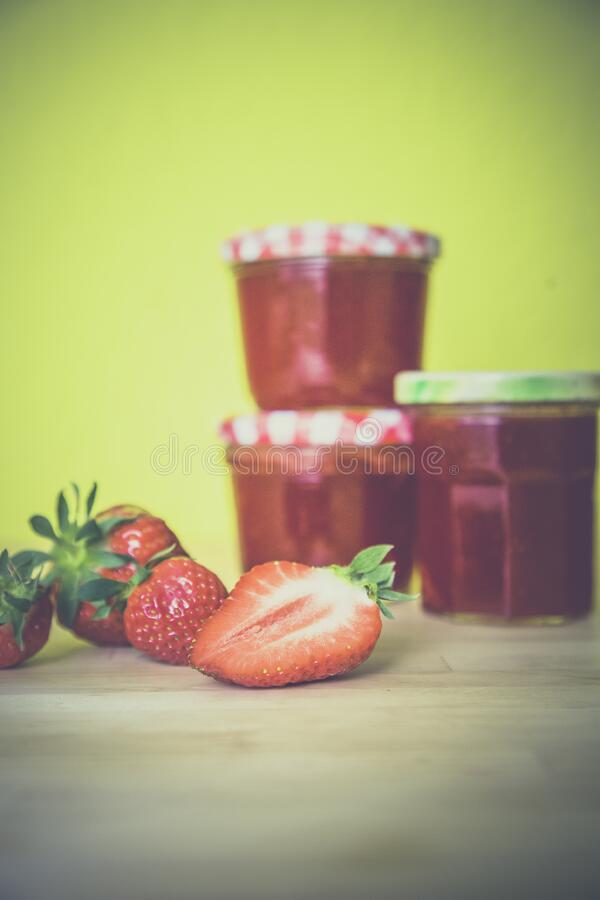 Strawberry Near Red Jar On Wooden Surface Free Public Domain Cc0 Image