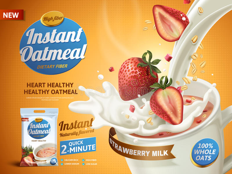 Strawberry oatmeal ad vector illustration