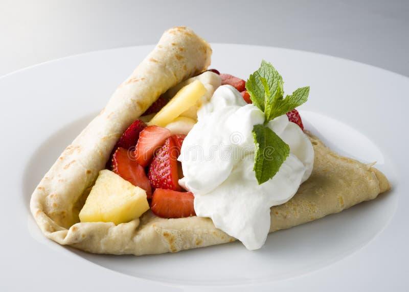 Strawberry pancake royalty free stock photography