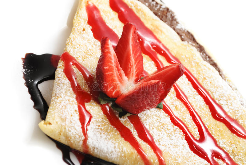 Strawberry pancakes stock images