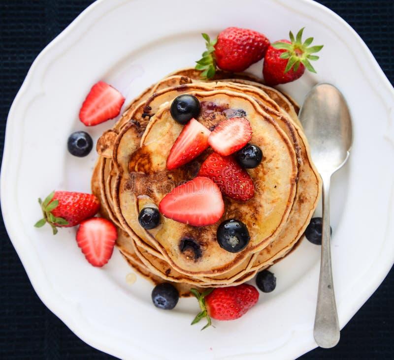 Strawberry pancakes stock photos
