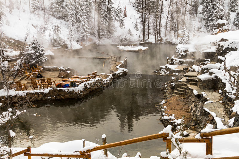 Strawberry Park Hot Springs. Strawberry Park Hot Spings natural hot springs in winter after freshly fallen snow royalty free stock image