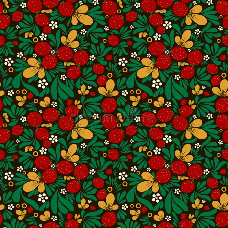 Strawberry pattern khohloma. Strawberry pattern in traditional russian style khohloma stock illustration