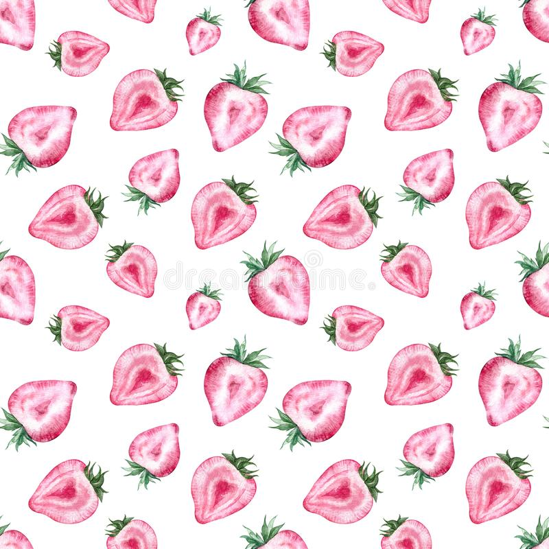 Strawberry pattern with white background. Watercolor summer illustration. Heart-shaped berries. vector illustration
