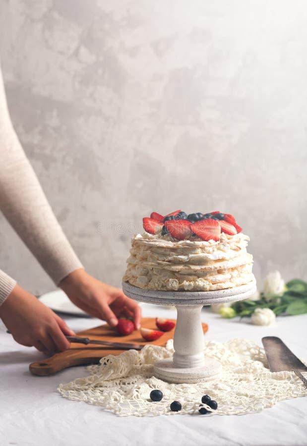 Strawberry pavlova cake stock image