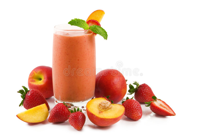 Strawberry peach smoothie royalty free stock images