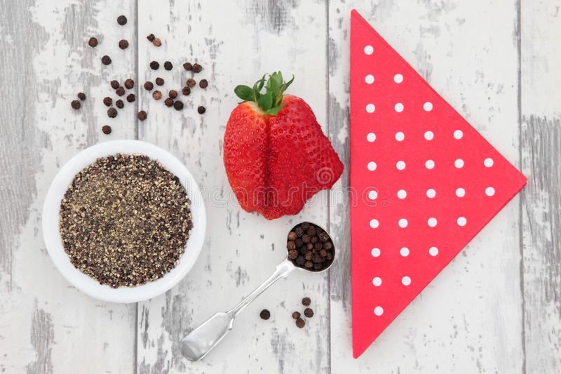 Download Strawberry and Pepper stock photo. Image of wood, peppercorn - 32542944
