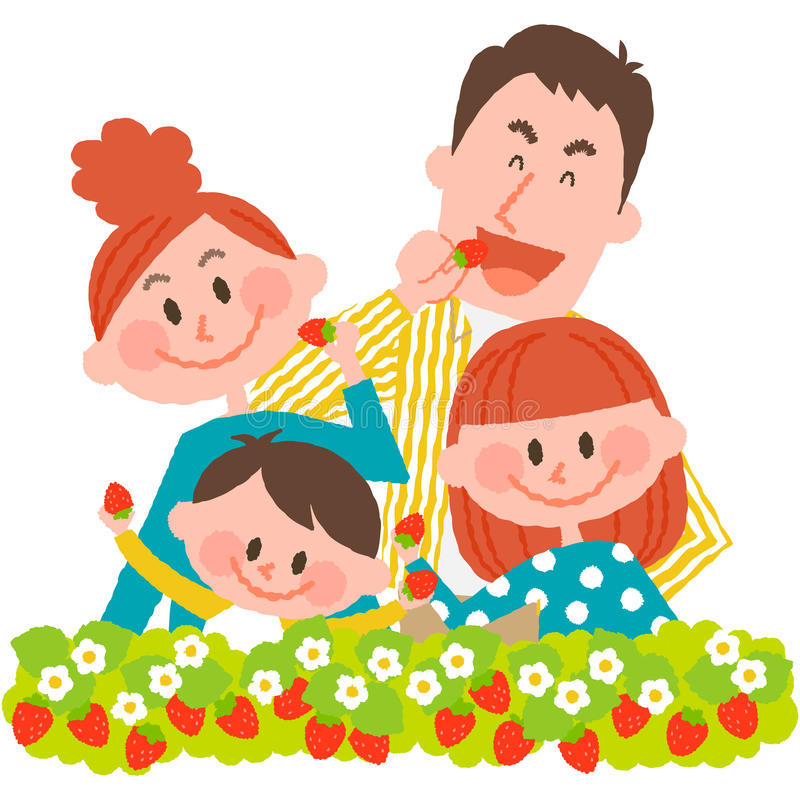 Strawberry picking royalty free illustration