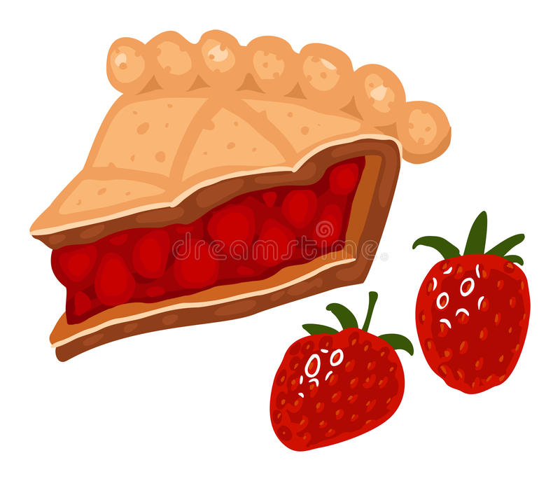 Strawberry pie. Slice of strawberry pie. Vector illustration vector illustration
