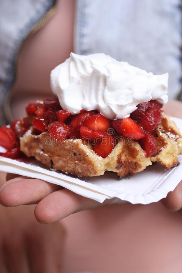 Strawberry Pie With Cream stock photography