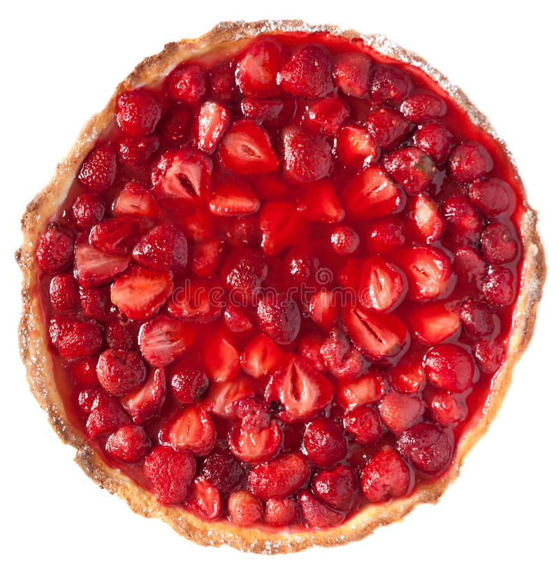 Strawberry pie top view royalty free stock photos