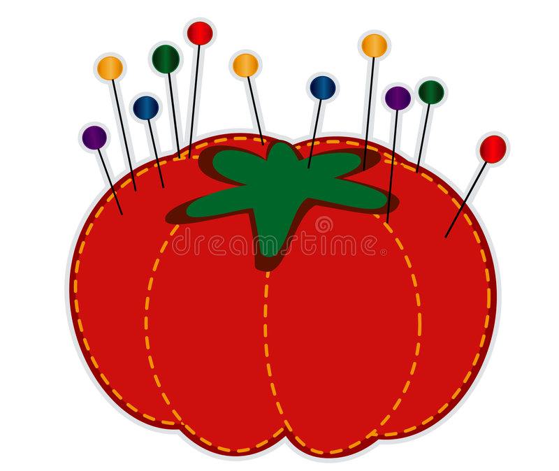 Strawberry Pincushion with Glass Straight Pins vector illustration