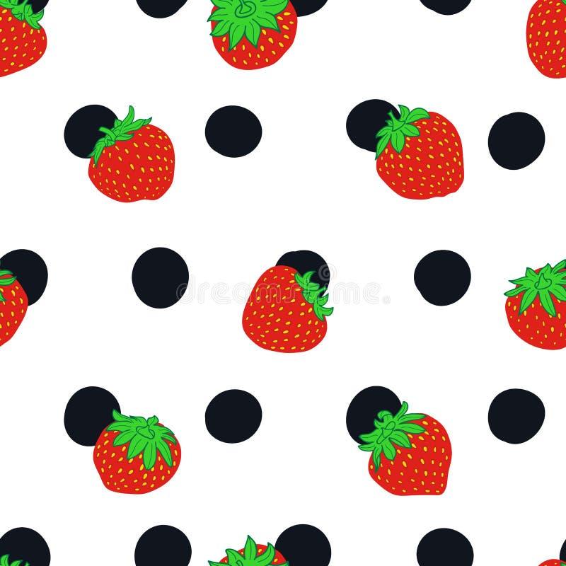 Strawberry and polka dot seamless vector pattern stock illustration