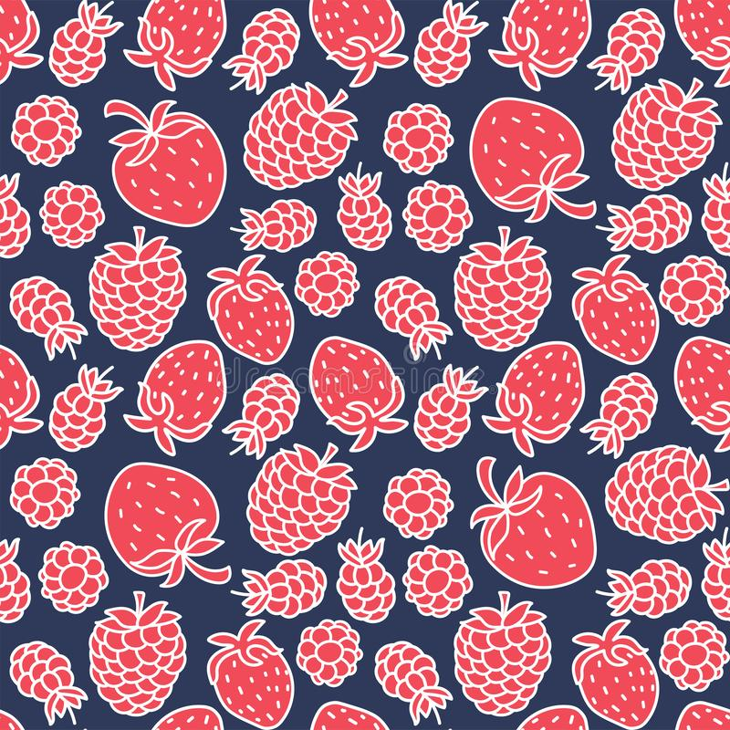 Strawberry and raspberry seamless pattern. Hand drawn fresh berry, fruit. Vector sketch background. Color doodle wallpaper. Print royalty free illustration