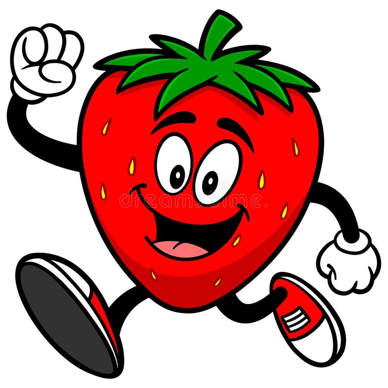 Strawberry Running. A vector illustration of a Strawberry Running stock illustration