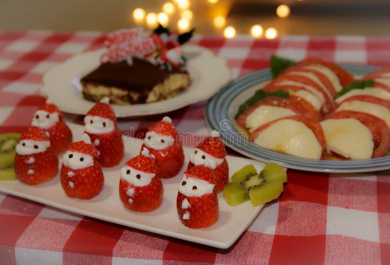 Strawberry Santa Claus. Christmas fun food idea - strawberry Santa Claus, healthy and delicious treat for kids stock image