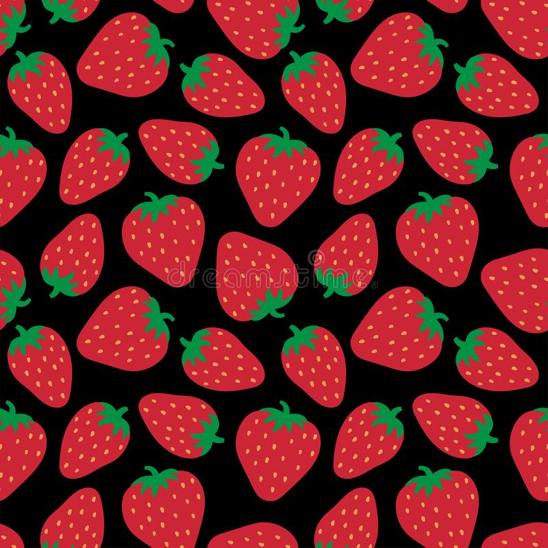 Strawberry seamless pattern. Hand drawn fresh berry. Doodle wallpaper. Vector sketch background. Red and blue color print. Fashion. Design royalty free illustration