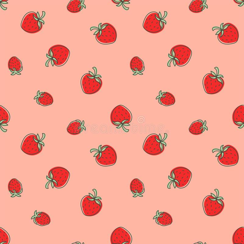Strawberry seamless pattern. Juicy red berry. Hand drawn color vector sketch background. Fashion textile design. Doodle summer. Print stock illustration
