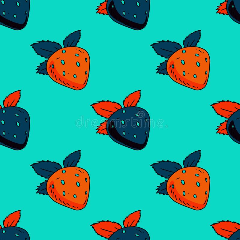 Strawberry seamless pattern royalty free illustration