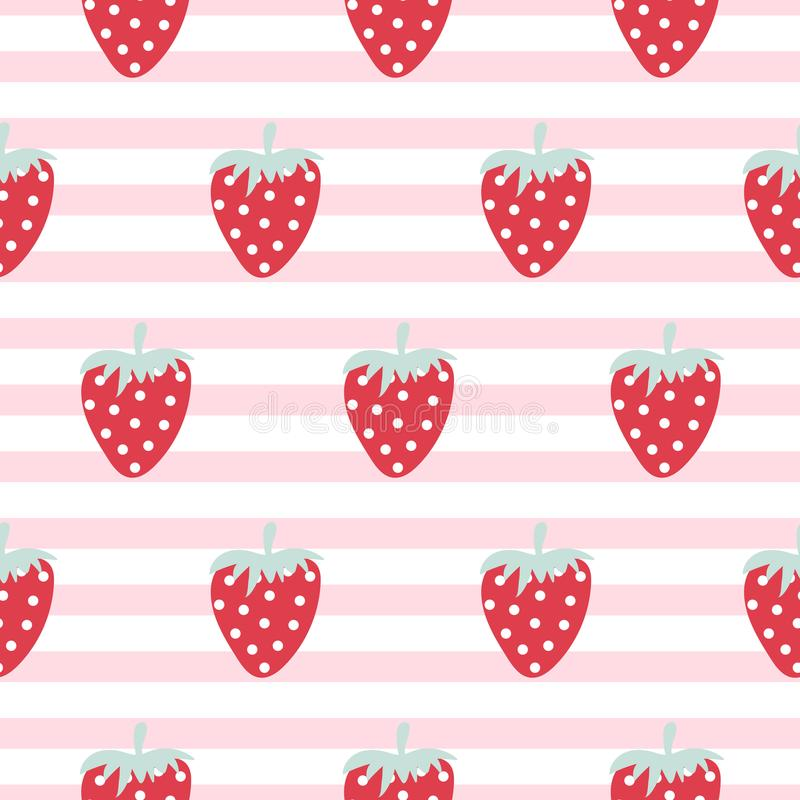 Strawberry seamless vector striped pattern. vector illustration