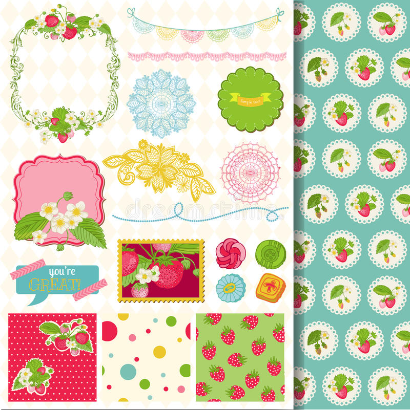 Strawberry Shabby Chic Theme Stock Vector Image 40582510