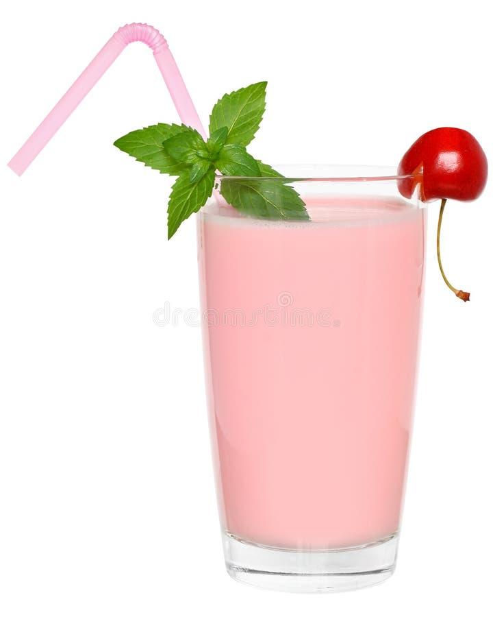 Strawberry Shake decorated pair of cherries stock photo